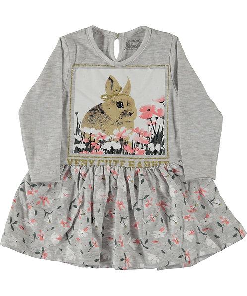 Bunny Floral Dress (Light Grey)