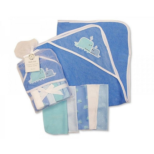BABY WHALE HOODED TOWEL & 5 WASH CLOTHS SET