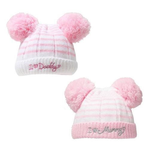 PINK I ♥ MUMMY/DADDY POM-POM HAT (0-6M)