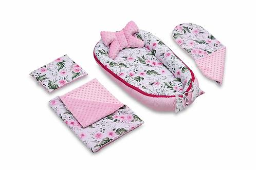 Pink Garden & Pink Minky 5-Piece Set