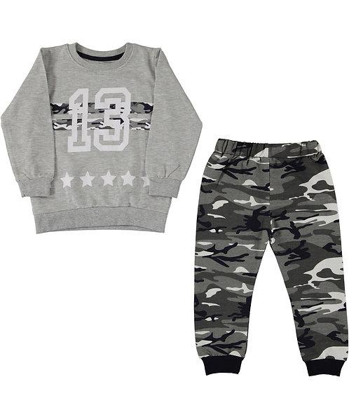 Boys Tracksuit, Camo print Jogpants, Nr 13 Sweatshirt