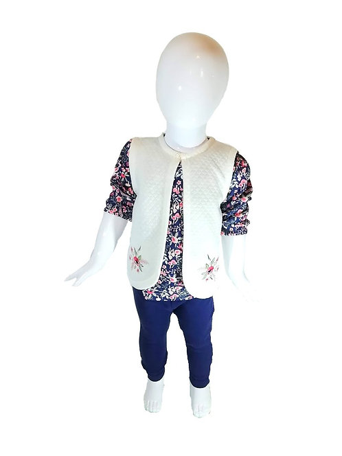 Baby Girl Quilted Floral Set, Outfit, Legging, Gillet, Blouse