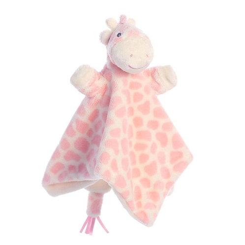 Gigi Giraffe Pink Finger Puppet Blankie