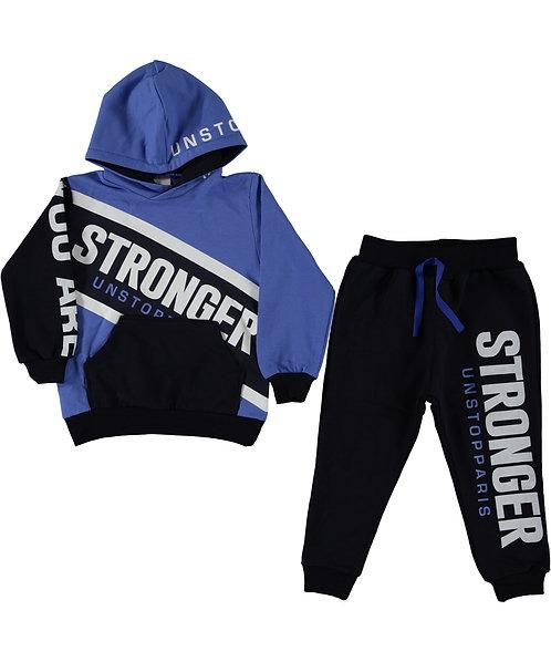 Stronger slogan boys tracksuit, hoody, jogpants, navy blue