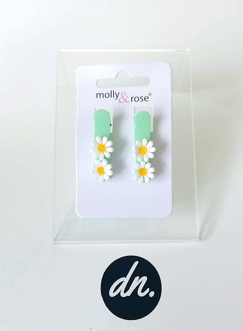 Daisies on pastel beak clips 3cm -Green