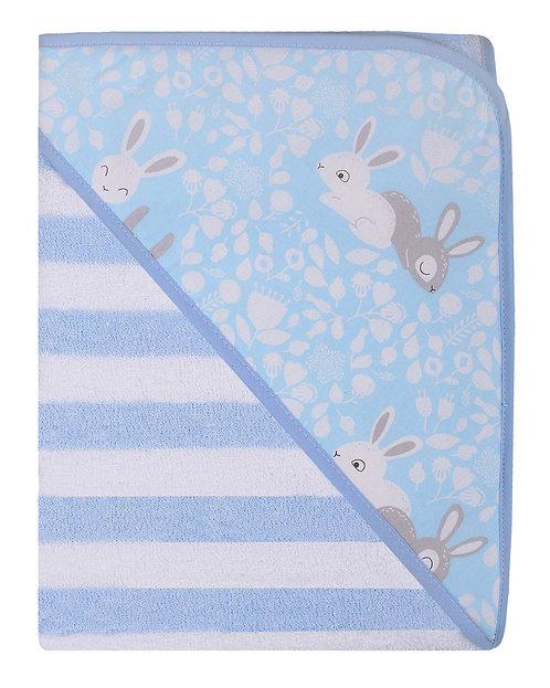 Baby Blue Bath Towel, Robe, Swaddle, Rabbits, Bunny, Printed