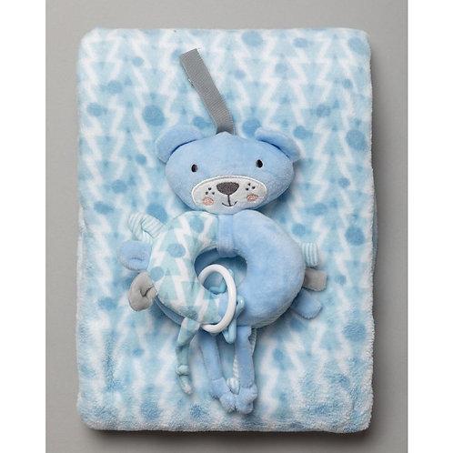 BABY BOYS BEAR PLUSH TEETHER RATTLE & BLANKET SET