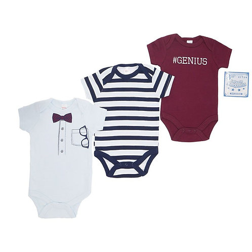 Boy Bodysuits, Genius, White, Burgundy, Stripes
