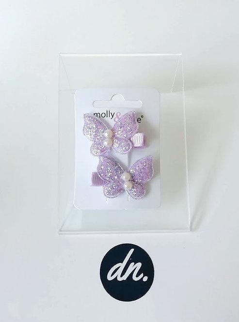 Glitter Clips - Lilac Butterflies