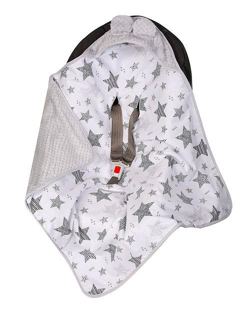 Baby Car Seat Blanket, white stars
