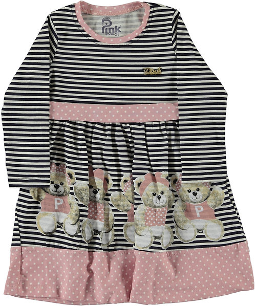 Girls Dress, Long Sleeve dress with teddies