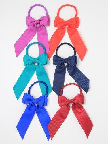 Grosgrain ribbon bow tails elastic