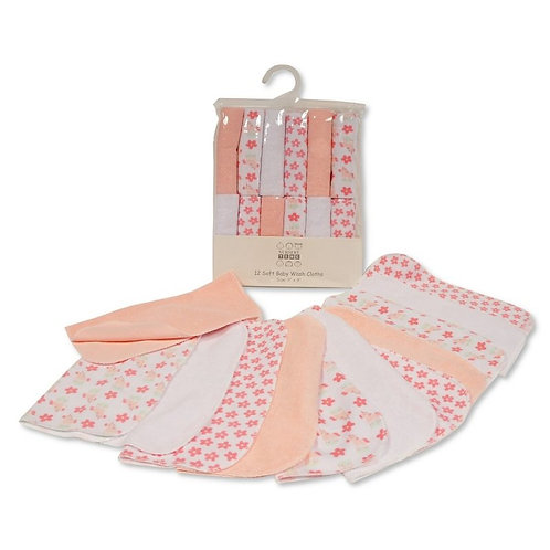 BABY GIRLS WASH CLOTHS 12-PACK - FLOWERS