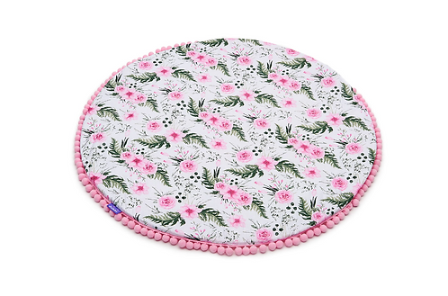 Baby Play Mat, Circle Floor Mat,Pink, Printed, Padded with pom poms