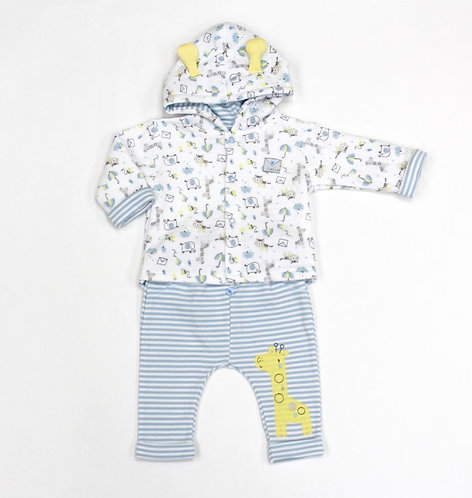 Baby Boys Safari Quilted Hooded Jacket & Pant Set (0-9 Months)