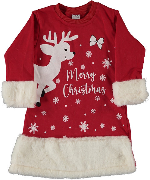 Girls Christmas Dress, Red with white print and fur edging