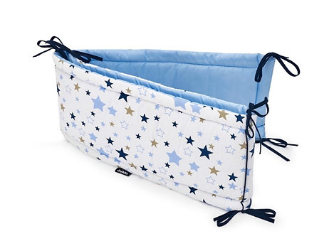 Cot Bumper, Light Blue with Stars