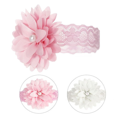 Lace Headband with Flower & Pearl