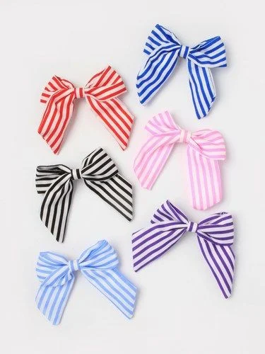 Striped fabric bow barrette clip 6cm