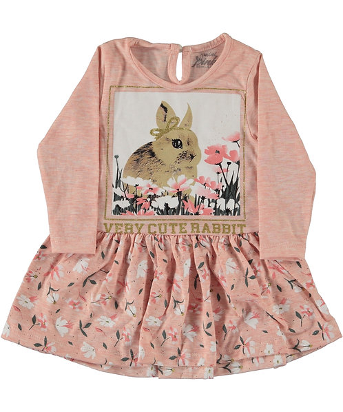 girls dress with bunny print and flowers
