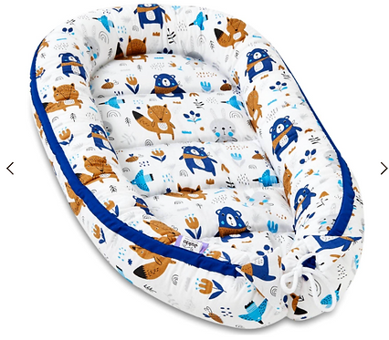 BaBy Nest with Animal Print, Navy, White, Bear, Fox