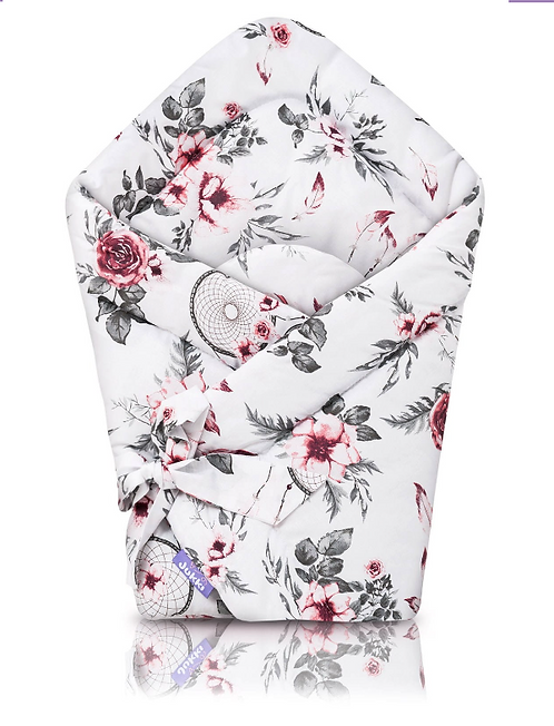 Baby Swaddle wrap, Padded, White, Pink, Cotton, Dream Catcher, Printed