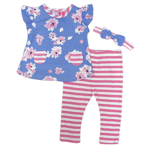 BABY GIRLS FLORAL T-SHIRT, LEGGING & HEADBAND OUTFIT (3-24 MONTHS)
