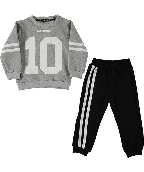 Boys Tracksuit, grey sweatshirt with nr. 10 and black jogpants