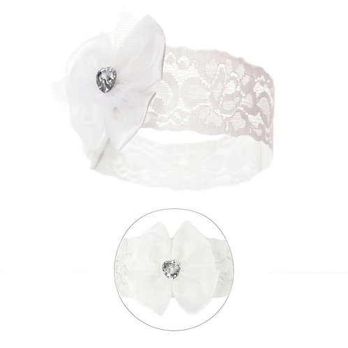 Lace Headband with Bow & Gem -Ivory