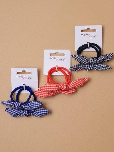 Gingham check bow elastics