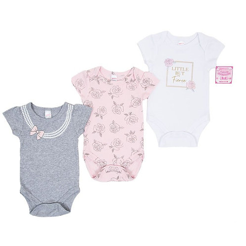 "GIRLS 3 PACK BODYSUITS (NB-9 M)""Fierce"""