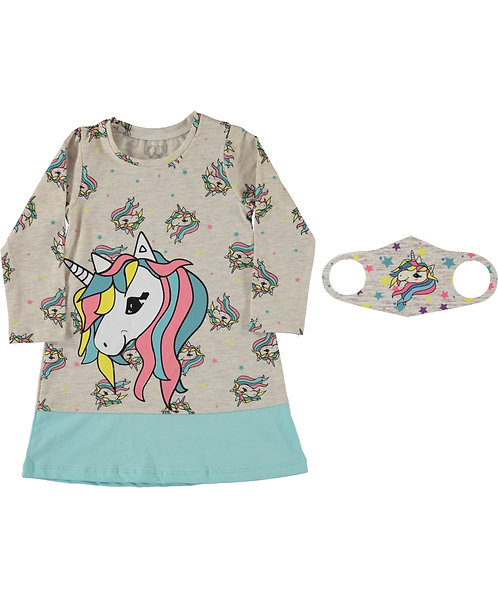 Girls Unicorn Dress and Face Mask Aqua