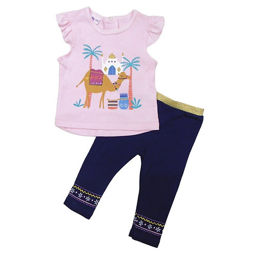 BABY GIRLS CAMEL T-SHIRT & LEGGING OUTFIT (6-24 MONTHS)