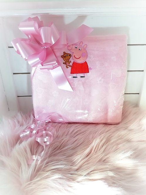 Peppa Pig Baby Girl Blanket, Perosnalised Pink with name