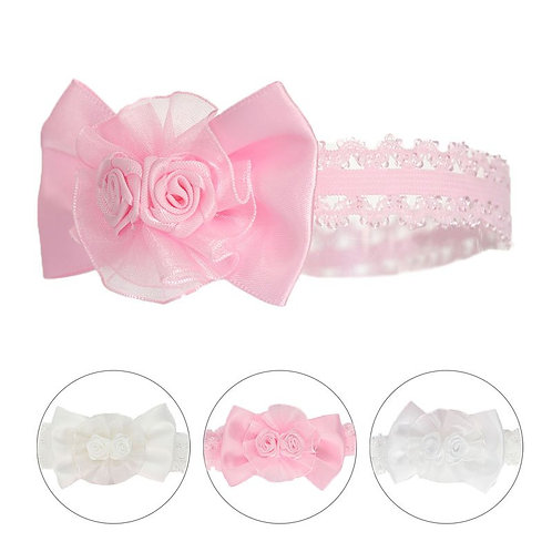 Shiny Lace Headband with Bow & Flower