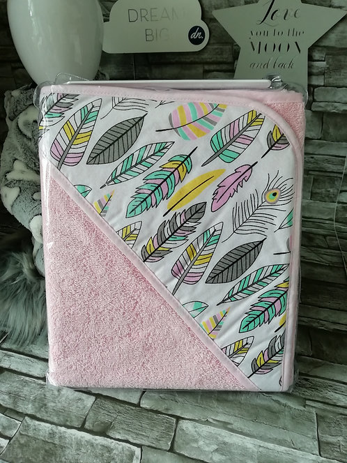 Baby Towel - Pink Feathers