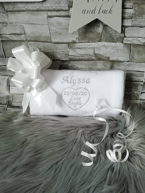 Personalised Baby Blanket white and silver thread