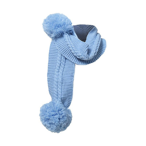 Blue Pom Pom Scarf
