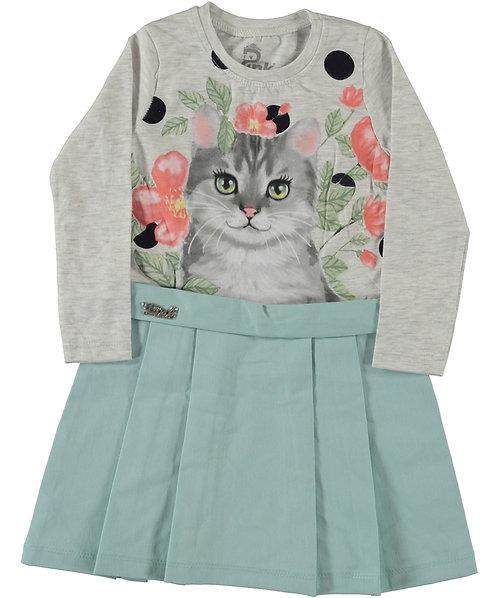 Cat Print Dress (Mint)