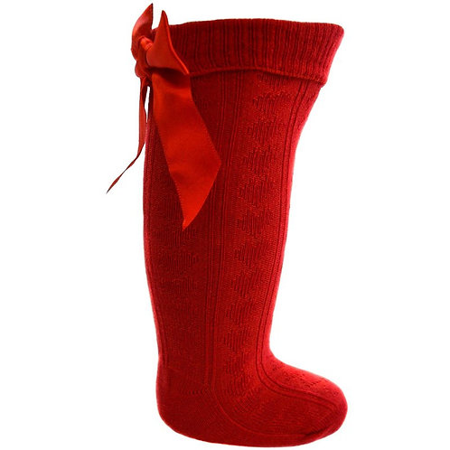 RED KNEE LENGTH SOCKS W/LARGE BOW (0-24 MONTHS)