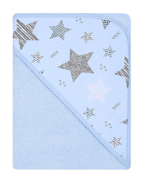 light blue baby towel with star print on the hood