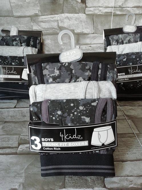 Boys 3Pk Cotton Rich Trunk Fit boxers - Grey / Black