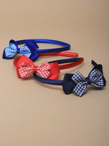 Double gingham bow satin 1cm wide aliceband