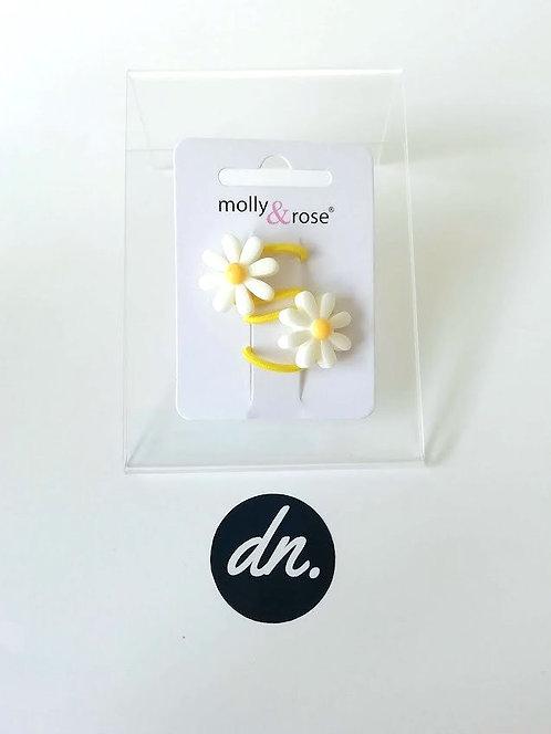 Daisy flower elastics - 2 Pk - White Flower