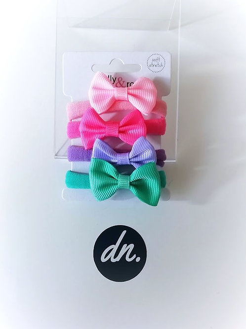 Soft Jersey Fabric Elastics with Bow (Pink/Pink/Green/Lilac)