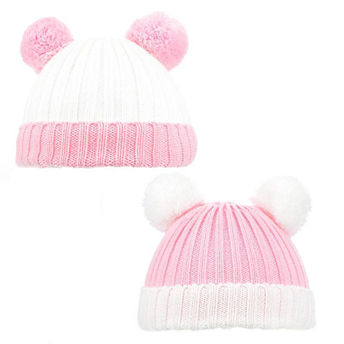 CABLE KNIT HAT W/FLUFFY POM POM (0-12M) Pink White
