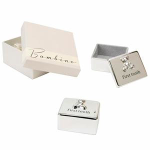 Silver plated First Tooth Box with Teddy Icon