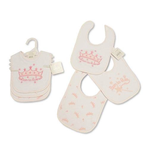 Baby Princess Velcro Fastening 3 Pack Bibs