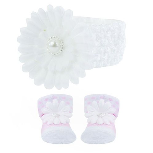 Headband & Sock Set - White