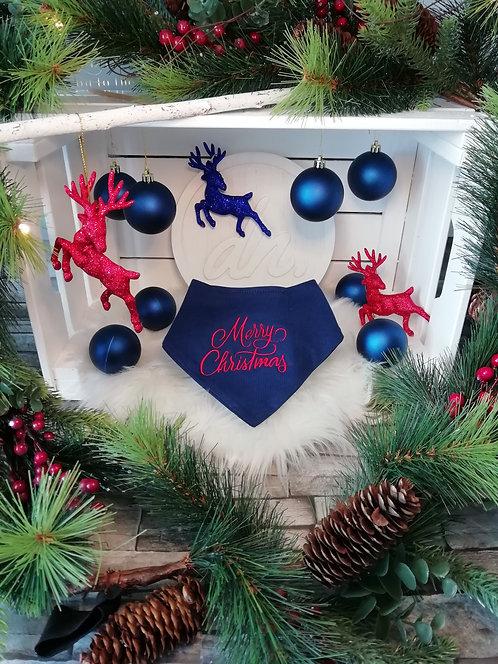 Merry Christmas Bandana Bib Navy